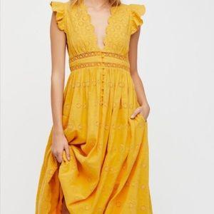 Marigold Peach Pie Midi Dress